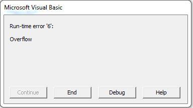 Overflow error Message