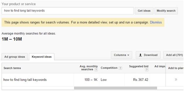 Google Keyword planner 7