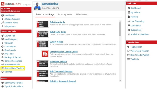 track youtube keyword rank 1