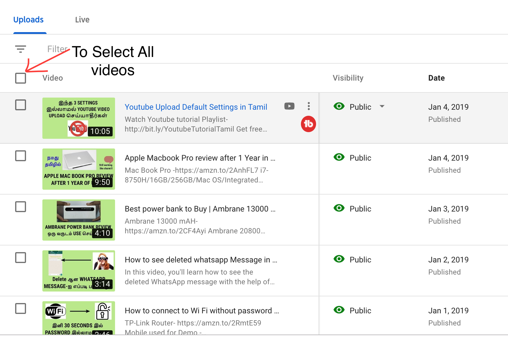 Select all videos on YouTube